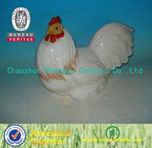 figura de gallo cerámico de bonito blanco
