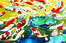 2015 modern abstract fish oil painting on canvas for wall art