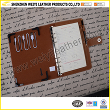 Wholesale Alibaba New Products Leather Portfolio with Power Bank/ Custom Logo A5 Size Leather Notebook / Agenda with Power Bank
