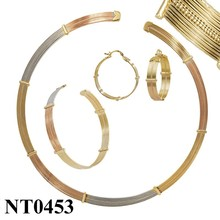 Tri Tones Gold Plated Jewelry Set, Fashion 18k Gold Jewelry Set bisuteria china al por mayor