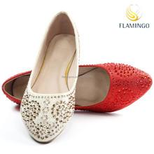 FLAMINGO 2015 LATEST ODM OEM fashion ladies glitter pointed toe slip on flat shoes with diamond