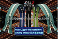 #7 cremallera de Nylon con reflectantes hilo de coser, pedidos del OEM son bienvenidos