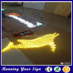 Hot sale fish shape colored bar light neon sign