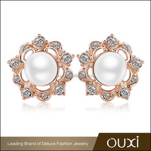 OUXI jewelry 2015 gold plated pearl earrings fashion earring designs new model earrings