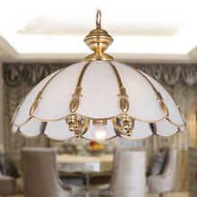 European country style led copper ceiling pendant lamp with handmade glass