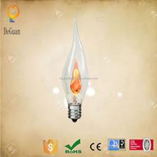 3w flame c26l light bulb e12base 120v pearl color hot selling silicon 3w flame light bulb