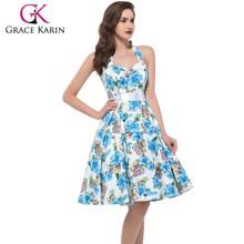 Grace Karin Sexy Halter Cotton Cheap Women 50s Vintage Retro Style Pinup Dress CL6075-9#