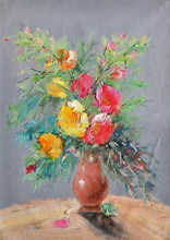 Artwork Online Impression Picture of Flower Designs Fabric Painting