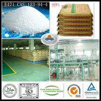 natural food ingredient E471 China Large Manufacturer CAS:123-94-4,C21H42O4,HLB:3.6-4.0, 99%GMS