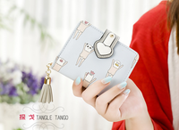 Ladies wallet female students short cartoons graffiti printing female cute zip zero purse