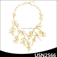 China latest choker gold statement coral necklace