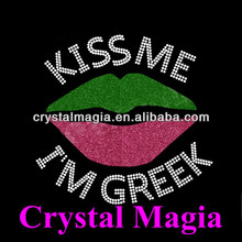 Letter rhinestone designs with glitter dress kiss me iam greek appliques