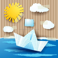 3D wall decal Sun and boat stickers for kids room decoration Home decor