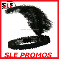 Party Masquerade Carnival black feather headpiece