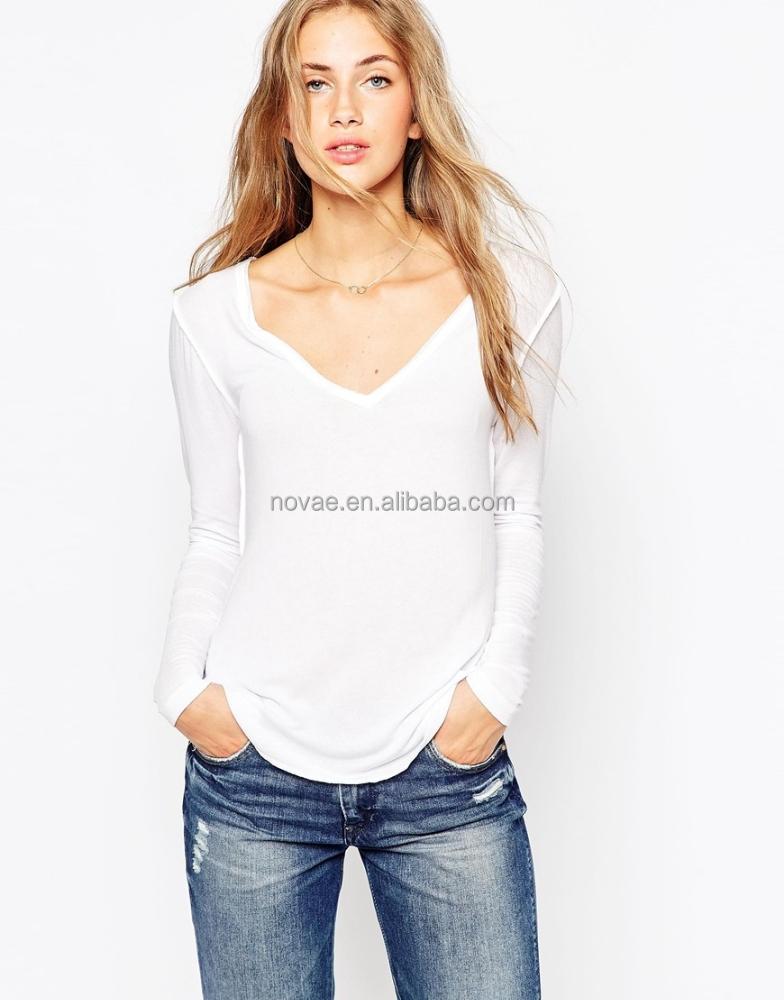 Women Polyester Spandex T Shirt Long Sleeve Plus Size