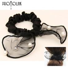 Elegant cute rabbit ear lace with pearl elastic head ties