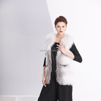 New style popular knit natural fox fur with leather vest