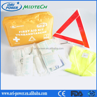 Hot sale DIN13164 Germany FDA CE approved portable compact travel auto first aid bag for car