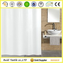 Plain White Waterproof Mouldproof Polyester Shower Curtain Factory