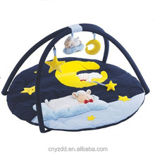 Plush White Sheep Baby Mat with Fitness Frame /Dark Blue Floor Mat with diameter 95cm
