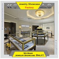 Custom made glass jewelry showcases display cases for shop interior design