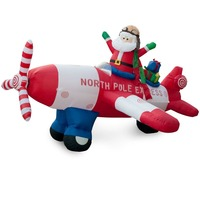 DJIU Animated - 8 Foot Wide Christmas Inflatable Santa Claus Flying Airplane Blow Up Yard Decoration