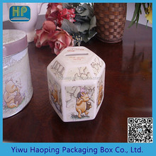 Octagon Money Saving GIft Tin Box/Money Saving Jar/Money Gift Tin Can