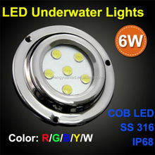 2015 IP68 SS316 6W LED Underwater Light for boat, White or Blue