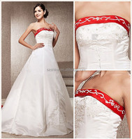 YWD11272 A-line Strapless Wedding Dress White And Red Wedding Dresses For Sale