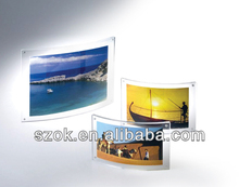 clear acrylic curved photo frame/ acrylic hanging curved sign holder