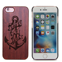 Anchor engraving rose wood cover case for iPhone 6s, bamboo cover for iphone 6 phone case