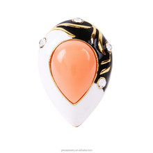 New Style Dome Teardrop Epoxy Resin Rings Jewelry For Girl