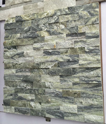 Stacked Stone Ledger panels- Green Wave Marble Split Face