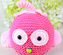 Cute apply newborn baby knitted cap, big eye baby hat, hotsale winter knitted cap