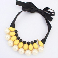 European and American new fashion hot selling wild star beautiful pearl stone silk necklace colorful big necklace