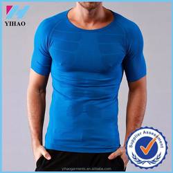 Yihao High Quality Mens White Black Gray Gym Fitness Camping Running Quick Hot-Drying Muscle Sportwear T-Shirts Wholesale 2015