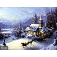 100% Handmade famous natural village snow scenery painting oils on canvas, i ll be home for christmas