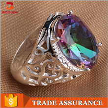 Artificial jewelry 925 silver ring color zircon silver ring jewelry inlaid semi-precious stones ring by hand