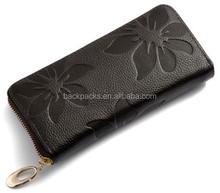 New Fashion Style The best Genuine Leather Zip Around Flower pattern Lady Women Long Wallet Purse Handbag