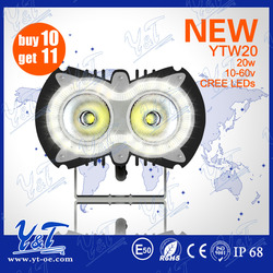 CE&ROHS Approved 12v 20w motorcycle headlight off road led driving light high power led track spot light