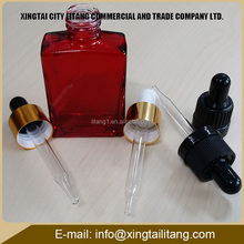 Hot sales red 1oz 50ml e liquid square glass dropper bottles with tube for female