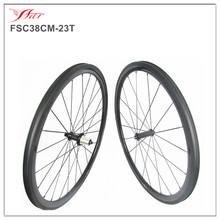 Cheapest carbon clincher wheels 38mm road bike 23mm wide full carbon fiber chinese rims 700C no outer spoke holes Aero U shape