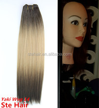 2015 stefull hair colorful top sell no tangle synthetic hair weft