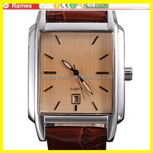 currenful square face shaped man quartz watch with stainless steel and leather