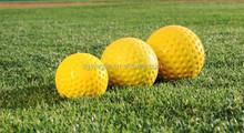 """9"""" White Yellow Dimple Pitching Machine Baseball Ball"""