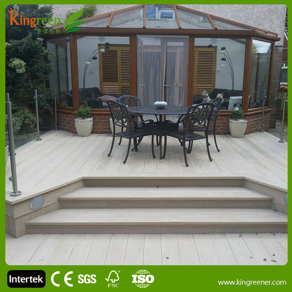 Wood plastic composite decking for deck cover with for Recycled plastic decking
