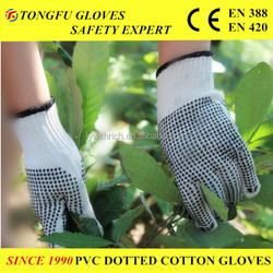orange color dots on one side gloves for USA Market ,string PVC Dotted Working Glove Cotton Work Glove EN388 construction use