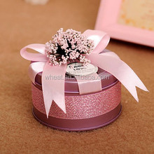 Beautiful More Colors Round Tinplate Candy Wedding Packing Box
