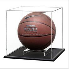 acrylic display case with black base, basketball display box