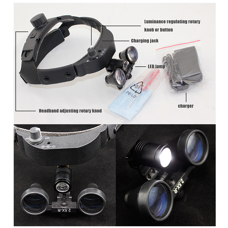 Dental 2 5x Surgical Binocular Medical Loupe With Led Head